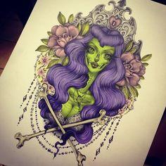 art zombie pin up style purple hair crossbones design tattoo idea Pin Up Tattoos, Great Tattoos, Girl Tattoos, Tatoos, Zombie Pin Up, Zombie Art, Tatuagem Pin Up, Art Expo, Zombie Tattoos