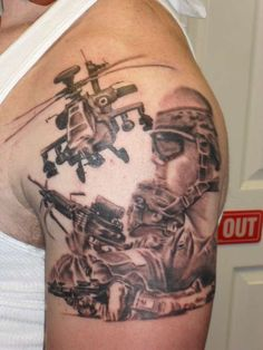 Soldier with air support. Tattoo by Mike Crump. #InkedMagazine #tattoo #military #Inked #art #tattoos