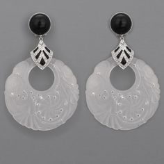Art Deco Carved Rock Crystal, Diamond, Onyx, and Platinum Earrings (c.1920) by Cartier