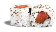 CALIFORNIA SAUMON SMOKED CHEESE RECETTE BIO ! - rouleau de riz inversé parsemé de graines de chia garni de saumon et de smoked cheese
