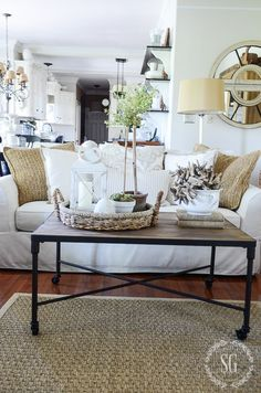 10 living rooms without coffee tables | tufted ottoman, floor