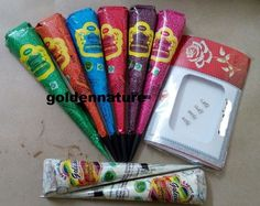 6 pcs Multi Color Henna Cone paste + 2 White henna cone + F 2 Multi COlor Bindi #kaveri✖️No Pin Limits✖️More Pins Like This One At FOSTERGINGER @ Pinterest✖️