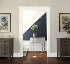 Look at the paint color combination I created with Benjamin Moore. Via Near Wall: Balboa Mist Far Wall: Hale Navy Trim: White Dove Share your saved colors, start a new search or go to your local Benjamin Moore retailer for samples. Hallway Paint Colors, Neutral Paint Colors, Room Paint Colors, Grey Paint, Neutral Hallway Paint, Silver Sage Paint, Benjamin Moore Paint, Benjamin Moore Colors, Stone Hearth Benjamin Moore