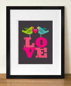 LOVEBIRDS, Mid century poster print, Valentine's, Newlyweds, Housewarming gift, Home decor, Love wall art, Bird print, Love poster