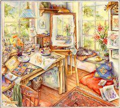 """Nuestras MiniaturaS - ImprimibleS: Kim Jacobs: """"Habitación del pintor"""""""