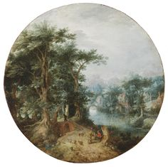 Gillis Claesz. de Hondecoeter (Antwerp or Mechelen c. 1575/80-1638 Amsterdam) Wooded landscape with a river Copper, 28.5 cm diameter Acquired in 1922; inv. 808  Along with David Vinckboons (cf. no. 35), Gillis de Hondecoeter was one of the painters in the circle of Gillis van Coninxloo, who launched the wooded landscape in Amsterdam around 1600. Almost all of them came from the southern provinces. This painting was originally attributed to Jan Breughel the Elder (cf. no. 7), who introduced…