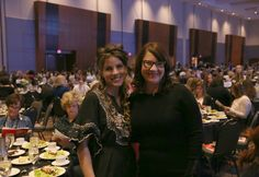 Melissa Stephens with Kara O'Connor.  A cordial cherry thank you to Barbara Corcoran of Shark Tank and the Women's Fund of Omaha.