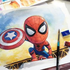 Spider-Man. @winsorandnewton watercolor & gouache on Arches paper. Thank you for following me!! Many thanks to @spotlightonartists ... @lpb.photos ... @theartistwifts ... @drawingtogether ... @artground ... @art_and_draw_forever ... @artefanpage ... @mizu_arts_help ... @artss.support ... @world_arts2016 ... @artsy_posts110 ... @_art_tree ... @lokaboy1979 ... @instart_heart ... @artists_rescue ... @your.arts.world ... @aakitcataa ... @lovenick_zootopia ... @instaillustrate ... @refiqe_n…