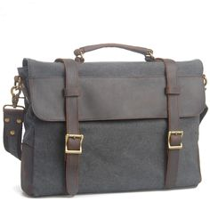 Handmade Vintage Crazy Horse Leather Canvas Single Shoulder Bags / Messager Bags / Briefcase / 13' 15' MacBook / 14' Laptop Bags (M6870-Gray)