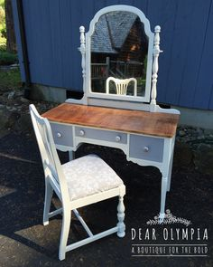 Painted vanity in CeCe Caldwells Paints Vintage White and Seattle Mist. Sealed with Endurance Finish and Waxing Cream. Customers can order paints online at DearOlympia.com #dearolympia #paintedfurniture #cececaldwellspaints natural chalk + clay paints / before and after / cottage style