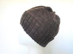 Dark Brown Beanie Hand Knit Merino Wool Toque Cap Men by Girlpower, $38.00