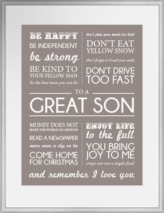 To a Great Son. Perfect gift for a son going off to uni this September.  In Taupe & White from our Good to Go range.