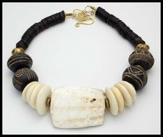 AFRICAN Hippo Teeth - Carved Bone - Ancient African Spindle Whorls 1 of a Kind Necklace by sandrawebsterjewelry on Etsy