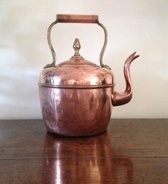 Antique French Copper Kettle Collectible Circa by Papillonpieces