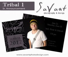 Tribal 1 Senior Guys Grad Announcement Card