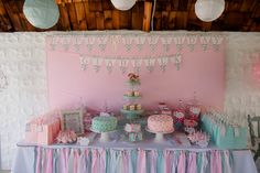 Shabby Chic Candy buffet for first Birthday party