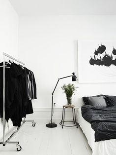 Schlafzimmer schwarz & weiss
