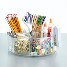 Linus Divided Turntable, The Container Store. Desk organization made easy! Spice Bottles, Spice Jars, Birmingham, Spice Organization, Classroom Organization, Studio Organization, Organizing Life, Organizing Ideas, Lid Organizer