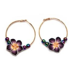 Miss High & Low - Rainbow Flower Earrings (295 SAR) ❤ liked on Polyvore featuring jewelry, earrings, joias, flower earrings, vintage jewelry, hoop earring charms, flower charms and vintage charms