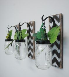 Individual Hanging Chevron Painted Mason Jar Wall Decor Home Decor bedroom decor kitchen decor by PineknobsAndCrickets on Etsy https://www.etsy.com/listing/185194529/individual-hanging-chevron-painted-mason