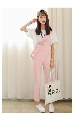 Aliexpress.com : Buy College Wind Hitz loose piece pants suspenders student candy colored stretch denim overalls female trousers from Reliable trousers elastic suppliers on According to the posture cowboy shop.