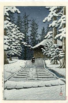 "The Sketchbooks of KAWASE Hasui  ""Konjikido in Snow, Hiraizumi"" (1957)"
