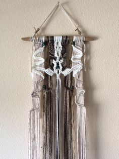 San Clemente Driftwood Macrame Wall Hanging by JillGlidden on Etsy  #macrame #driftwood #wallhangings #wallart #native #tribal #rustic #boho #bohemian #retro #white #nature #natural #wood #beaded #homedecor #naturalhomedecor #california #westcoast