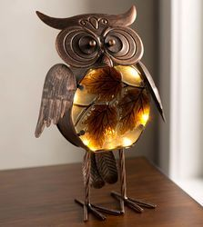 Indoor/Outdoor Lighted Owl Statue with Autumn Leaves