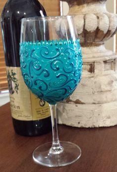 Hand Painted Wine Glass. Aqua Swirl Wine Glass. Turquoise Wine Glass. Wine Glass