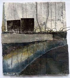 Debbie Lyddon Marshscape Collage #3, Cotton duck, linen, wax, metal, found thread