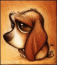 Adorable and beautifully made sketch of the cutest and droopiest pup ever!!  (Maybe made by Alice Brans.)