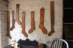 A Fabulous Group of Seven 19thC Beechwood & Pine Stocking Stretchers | Doe & Hope