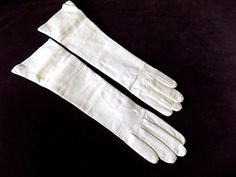 White Italian Leather Gloves Silk Lined Unworn Pristine Mid Length for Bride 7 1/2 by EyeSpyGoods on Etsy