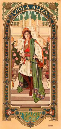 """Movie Posters:Drama, Viola Allen in Twelfth Night (Strobridge Litho Co., 1903). StagePoster (18.5"""" X 39"""")"""