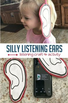 This super simple listening ears craft brings some hands-on fun to the listening processusing our tool of choice: audiobooks. Listening Activities For Kids, Craft Activities For Kids, Kindergarten Activities, Listening Ears, Active Listening, Listening Skills, Senses Preschool, Senses Activities, My Five Senses
