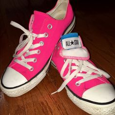 ab240851ad00 Neon Pink All Star Converse W  Blue hidden Tongue · Converse ShoesShoes ...