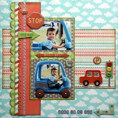 Colorful Boy's Car Scrapping Page...with car embellishments.
