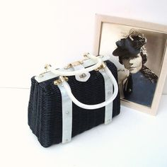 1950s Woven Handbag Vintage Wicker Purse  Black Bag by WhimzyThyme, $49.50