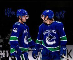 "Brock Boeser & Elias Pettersson Vancouver Canucks Autographed 16"" x 20"" Spotlight Photograph San Jose Sharks, Hockey Baby, Ice Hockey, Nhl, Vancouver Canucks Logo, Nascar, Henrik Sedin, Ryan Kesler, Mark Messier"