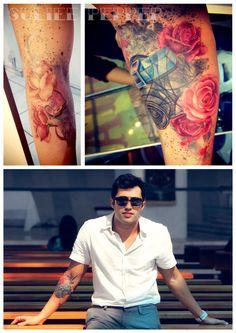 Tattoo rosas e câmera • By Suliée Pepper