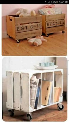 DIY Decor Ideas for Pallets {pallet - DIY – Repurpose crates with casters to make side tables or toy boxes. Crates often c - Reclaimed Wood Furniture, Wood Crates, Repurposed Furniture, Pallet Furniture, Furniture Ideas, Pallet Crates, Pallet Sofa, Plywood Furniture, Rustic Furniture