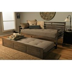 St Paul Furniture Daybed Frame Twin Choice to add Trundle Medium Brown Wood Finish Includes Solid Wooden Slats Lounger Best Futon Day Bed Sets (Medium Brown, Twin Frame, Slats with Trundle) Twin Mattress Couch, Trundle Mattress, Twin Daybed With Trundle, Mattress Frame, Futon Bed, Mattresses, Sofa Bed, Rustic Sofa, Pallet Ideas