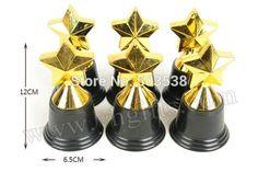 6PCS/LOT.Plastic gold star trophy,Learning award,Prizes toys,School sports medal,Creative study reward,6.5x12cm.Wholesale.