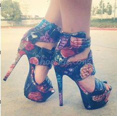 Gorgeous #Flower Print Coppy Leather #Platform High Heel #Shoes