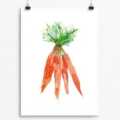 Beautifully painted with Watercolor  Carrot Series 001  Pear Tea Paperie Vegetable Carrot Series  INSTANT DIGITAL PRINT   No Physical Paintings or