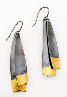 Long Dark Demi Diva by Sydney Lynch: Gold & Silver Earrings available at www.artfulhome.com Hand-forged oxidized sterling silver and 22k gold on wires.