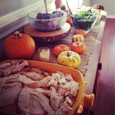 Thanksgiving Buffet | I kept it simple and just used miniature pumpkins and candles to decorate