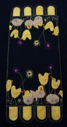 """""""Spring Hatchings"""" Pattern-Spring, chicks, easter, holiday, cath's pennies designs, penny rug, candle mat, pattern, wool, woolfelt, wool felt"""