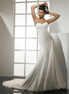 Strapless Sweetheart Twisted Cathedral Train Lace up Chiffon Wedding Dress WD1657 www.tidedresses.co.uk $256.0000