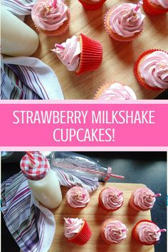 wonderfully nostalgic and easy-to-make strawberry milkshake cupcakes, bursting with sweet strawberry flavour in the cake and the buttercream frosting! Milkshake Cupcakes, Strawberry Milkshake, Strawberry Cupcakes, Strawberry Recipes, Flower Cupcakes, Cheesecake Strawberries, Mocha Cupcakes, Pretty Cupcakes, Velvet Cupcakes